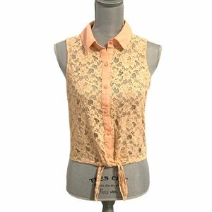 Forever 21 Lace Overlay Floral Front Tie Top Med